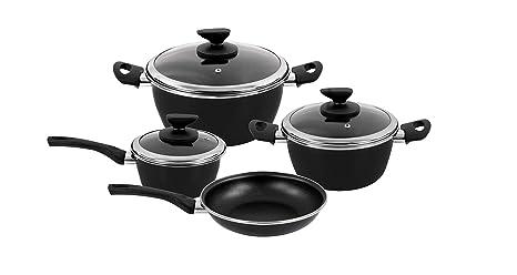 Magefesa - Batería de cocina FIT, acero esmaltado, color negro, con antiadherente bicapa reforzado. Apta para todo tipo de cocinas, incluida ...