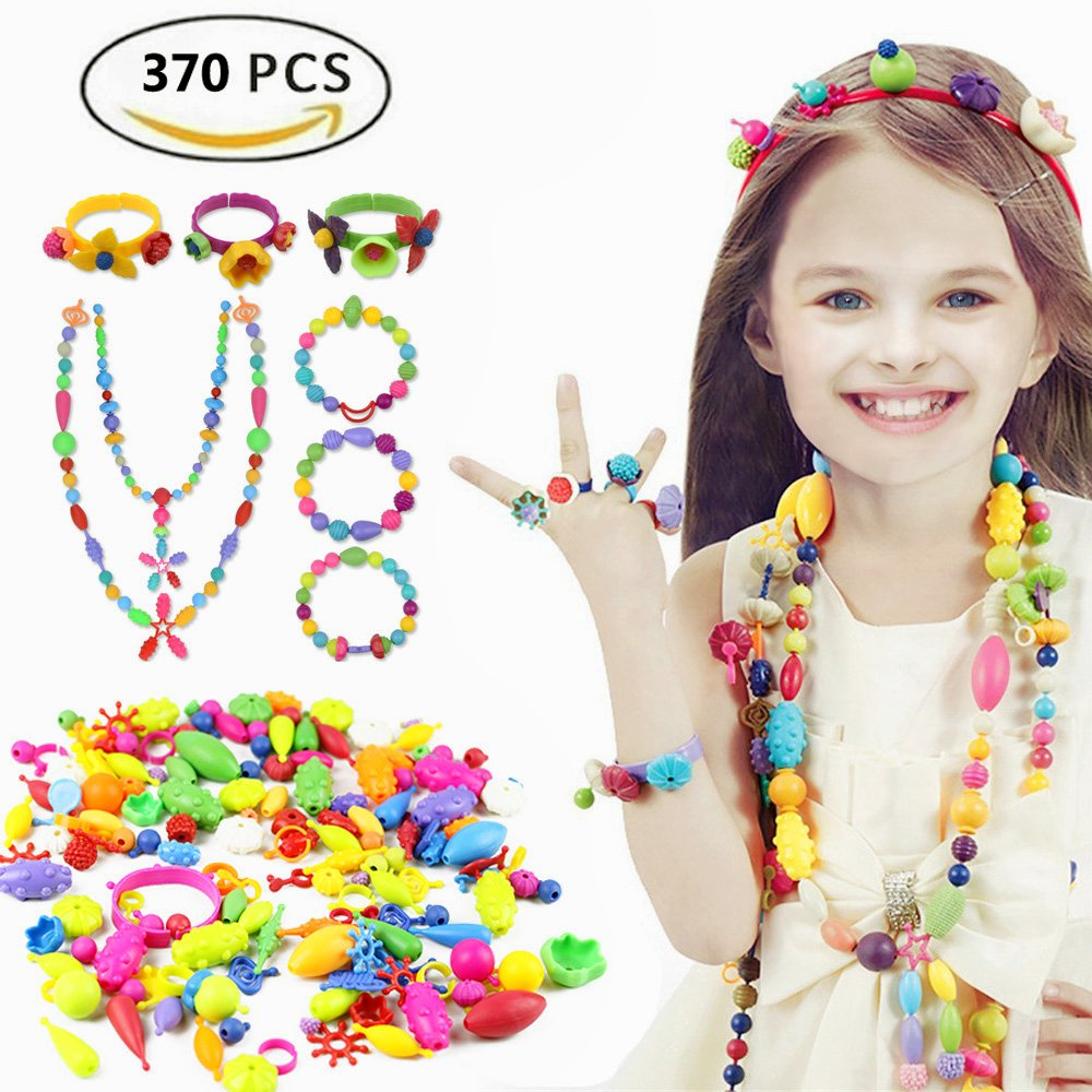 Etmact 370pcs Pop Bead Pearl Children DIY Toy Creative Building Blocks Kids Intelligence Education Toys Jewelry Making Kit for Headwear, Necklace, Earrings, Bracelets and Anklets for Kids Girls Gift T