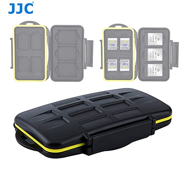 JJC MC-XQDSD7 Ruggard SD Card Case, Shockproof XQD Case, Water-Resistant XQD Case Case, Rubber Sealed Ergonomic Locking Easy Carrying Memory Card Case fits 4 SD Cards 3 XQD Cards (Color: Black, Tamaño: compact)