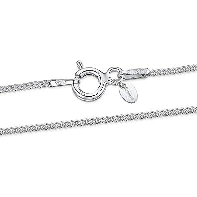 d94e4c533dc3 Amberta® Joyería - Collar - Fina Plata De Ley 925 - Cadena de Frenar - 1.1  mm - 36 40 45 50 55 60 cm (45cm)  Amazon.es  Joyería