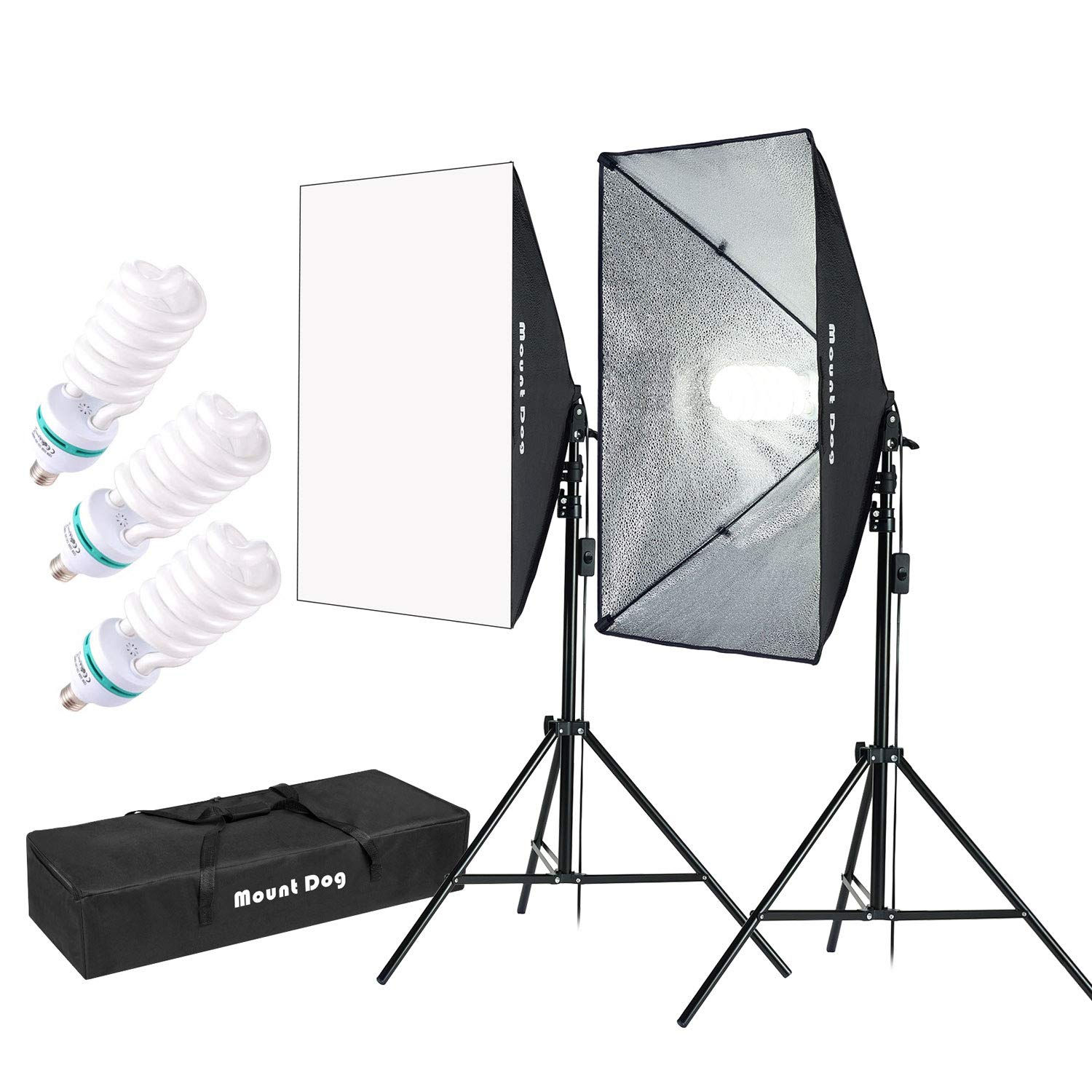 MOUNTDOG 1350W Softbox Lighting Kit Photography Studio Light 20''X28'' Professional Continuous Light System with 3pcs E27 Bulbs 5500K Photo Equipment for Filming Model Portraits Advertising Shooting by MOUNTDOG