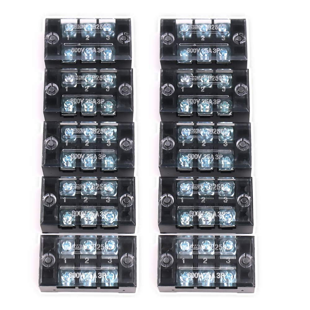 Terminal Strip 3 Positions 600V 25A Double Rows Covered Barrier Screw Terminal Block 10 Pcs