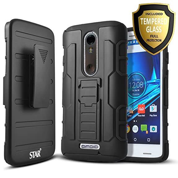 Droid Turbo 2 Case, Starshop [Heavy Duty] Dual Layers Kickstand Case With [