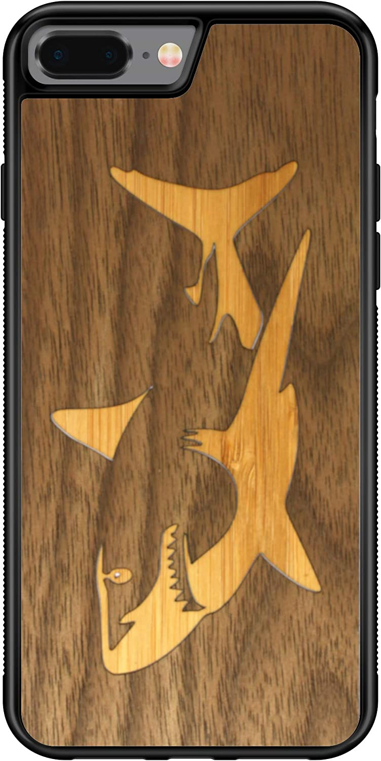 Wooden Phone Case (Bamboo Shark in Black Walnut Ocean) Compatible with iPhone 7 Plus, iPhone 8 Plus