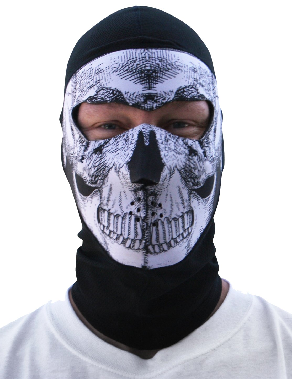 ZANheadgear Coolmax Extreme Balaclava with Full Skull Mask (Black and White) Dreme Corp -- Dropship 4002203