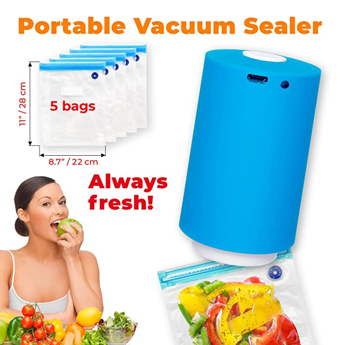 Portable Vacuum Sealer with USB Interface for Charging, Mini Vacuum Pump for Food Storage and Clothes, Vacuum Sealer Handheld for Multi-Purpose Usage with Zipper Bags Features