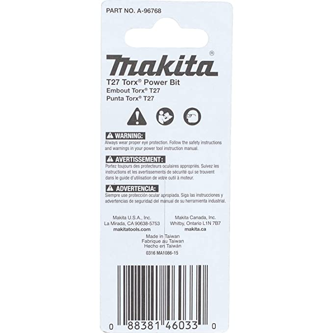 "MAKITA Cordless Power Tools A-96768 ImpactX T27 Torx 2/"" Power Bit 2-Pack"