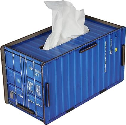 Caja de pañuelos con forma de contenedor azul de Werkhaus: Amazon.es: Oficina y papelería