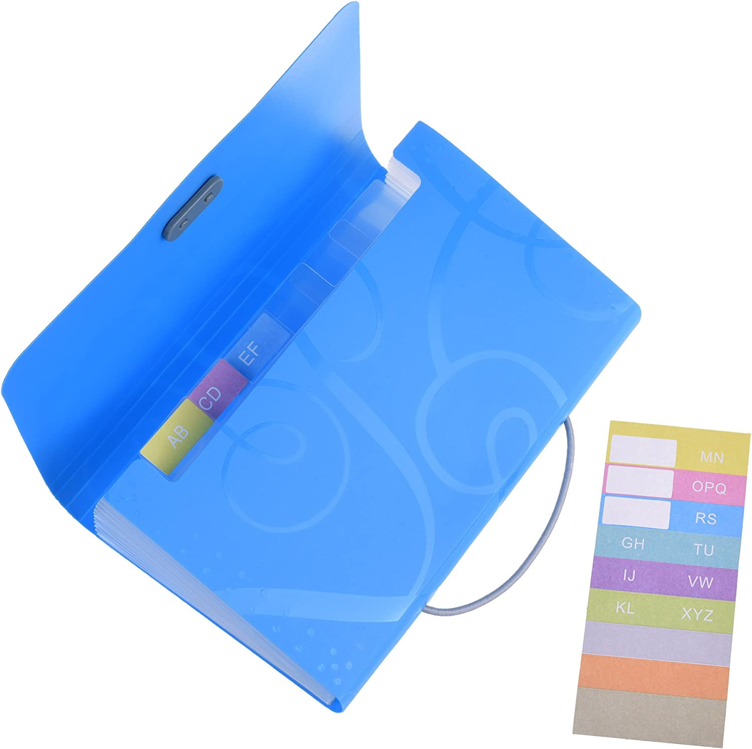 Amazon Com Cosmos 13 Pockets Expanding Files Folder Small Expandable File Folder With Tabs Organizer For Receipts Coupons And Tickets Blue Office Products