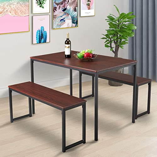 JAXPETY Modern Style 3-Piece Kitchen Dining Bar Table Set