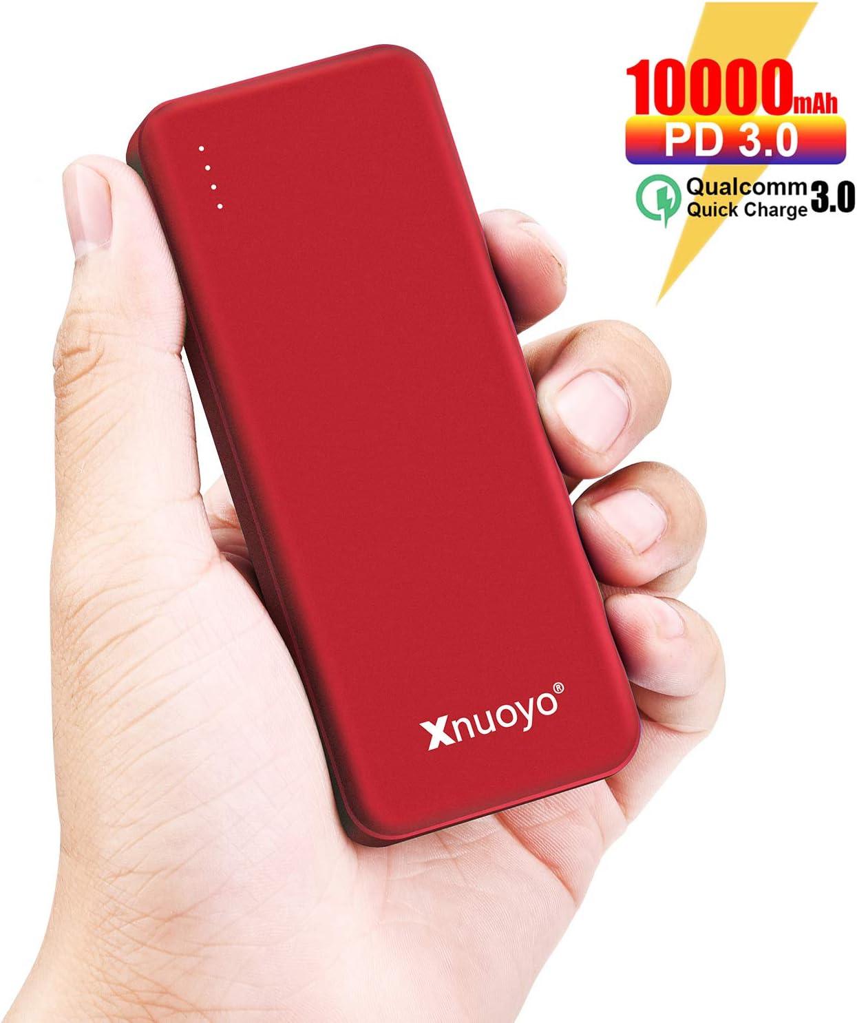 Xnuoyo PD Power Bank Carga Rápida 3.0 18W, 10000mAh Cargador Portátil de Suministro de Energía, Batería Externa de Entrada/Salida Tipo C Ultra-Delgada Compatible con Teléfonos Inteligente