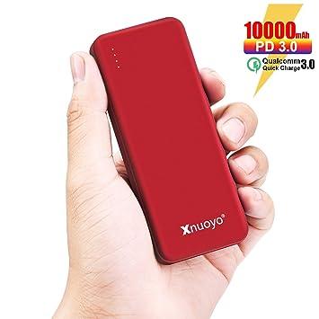 Xnuoyo PD Power Bank Carga Rápida 3.0 18W, 10000mAh Cargador Portátil de Suministro de Energía, Batería Externa de Entrada/Salida Tipo C Ultra-Delgada ...