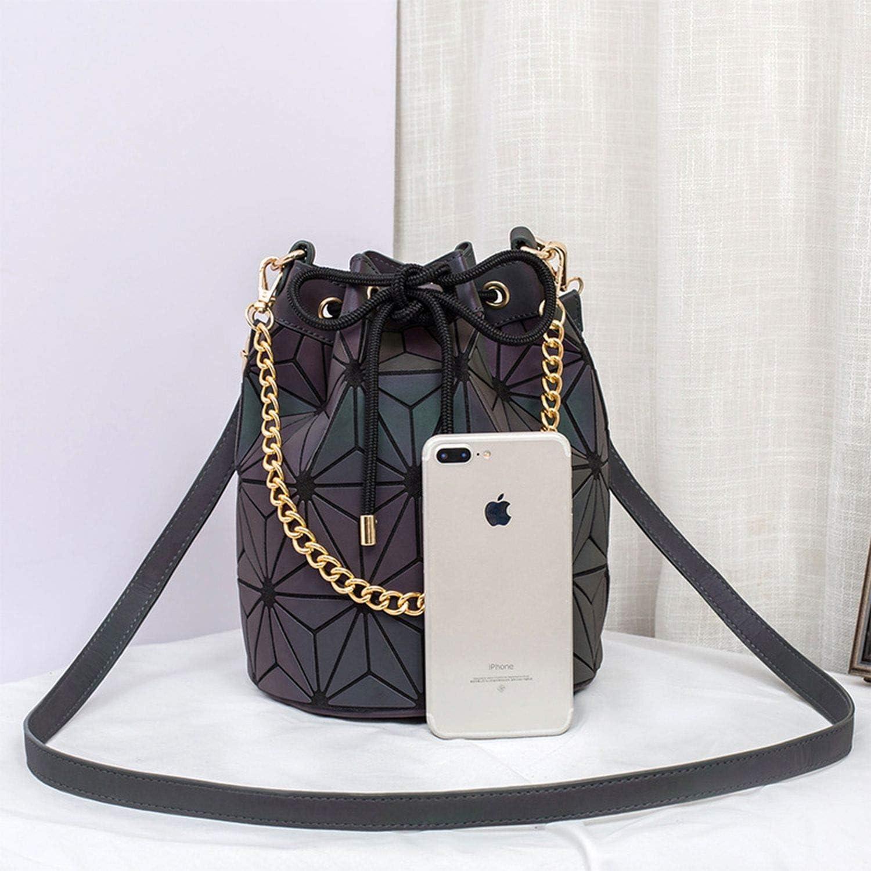 Laser Luminous Irregular Triangle Sequin Bucket Bag Shoulder Bags Chain Hand Bag Drawstring Handbags-In Top