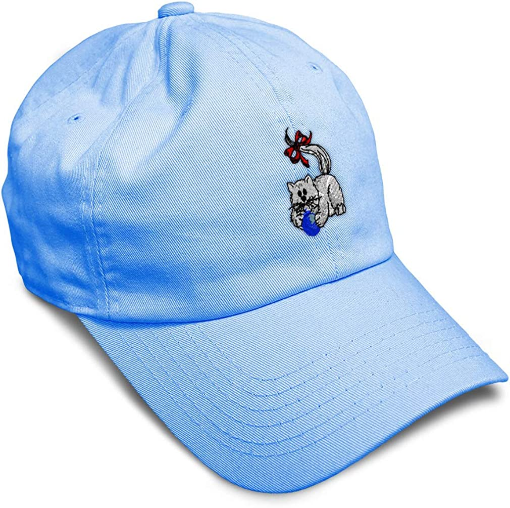 Custom Soft Baseball Cap Xmas Cat Playing with Ball Embroidery Twill Cotton
