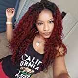 AisiBeauty Afro Kinky Curly Ombre Red Wig Women Synthetic Long Fluffy Wigs for African American Women