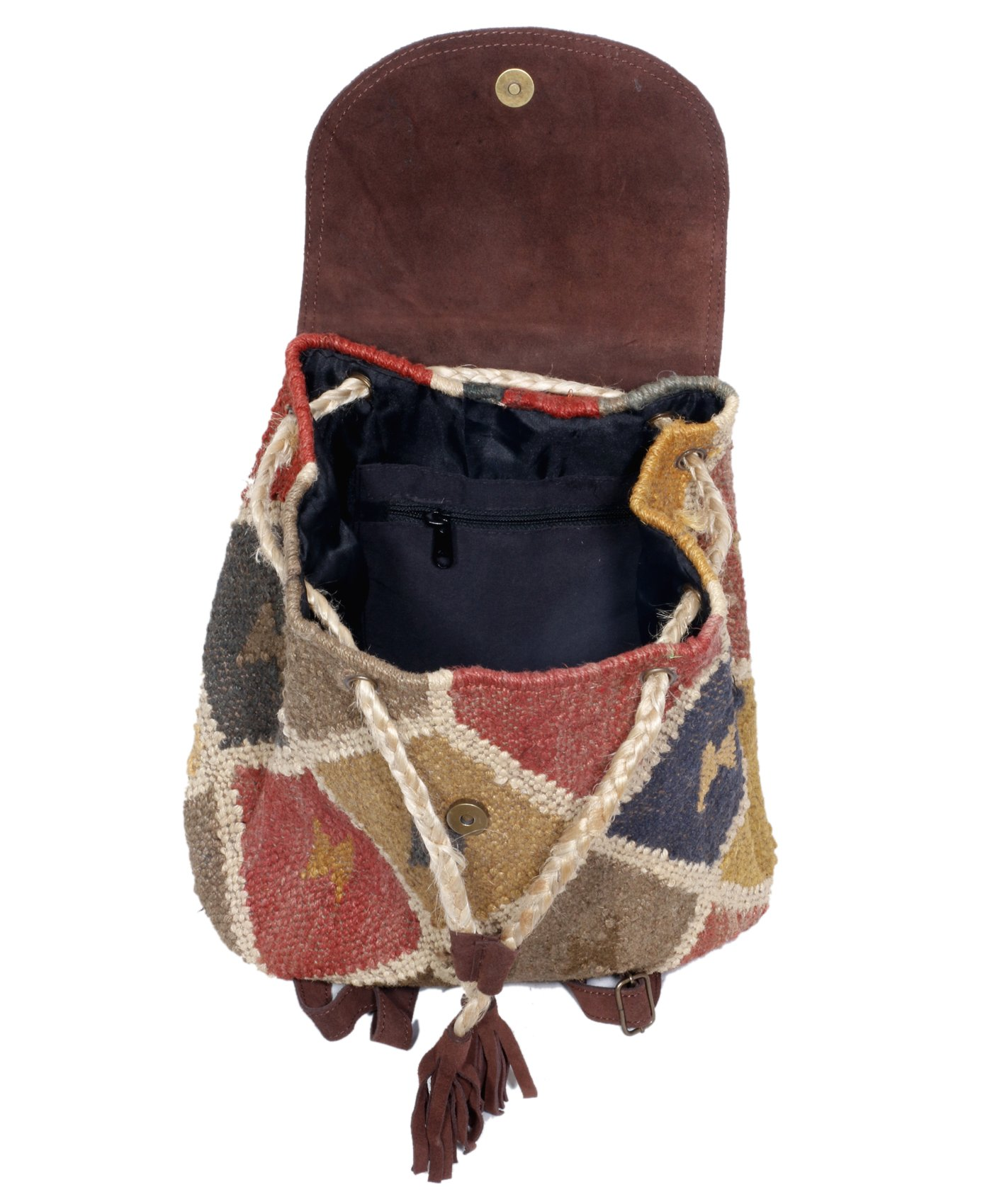 Indistar Women's Vintage Handmade Ethnic Kilim and Leather Back Pack Bag by Indistar (Image #6)