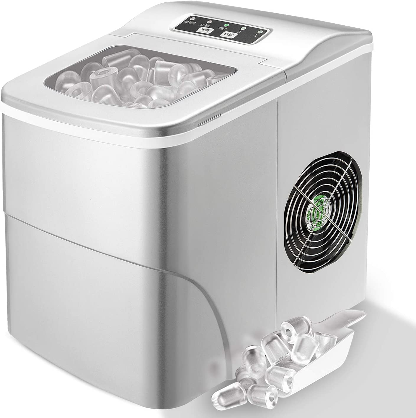 MOOSOO Ice Maker Countertop with Automatic Self-Cleaning 3 Types of Ice Size Ice Maker Machine with Basket /& 2 Scoops 9 Bullet Ice Cubes Ready in 8 Minutes,26lbs//24H Portable Ice Machine with LCD