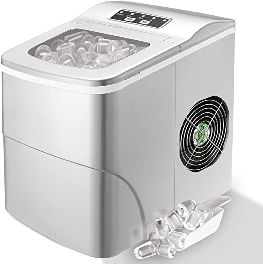 S//L Ice Maker Machine Countertop Compact Electric Ice Maker with Ice Scoop and Basket Gray Ice Cubes Ready in 6 Mins Make 26 lbs Ice in 24 Hrs with 2 Size