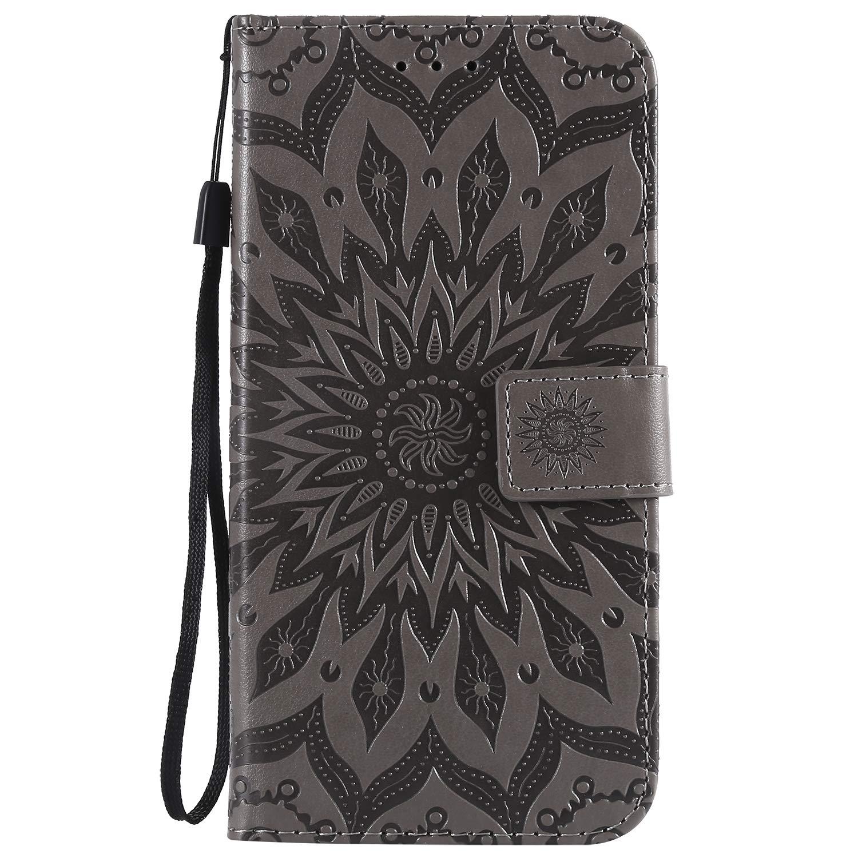 LOKTU30621 Grey Motorola One Power Case Lomogo Leather Wallet Case with Kickstand Card Holder Shockproof Flip Case Cover for Motorola Moto One Power