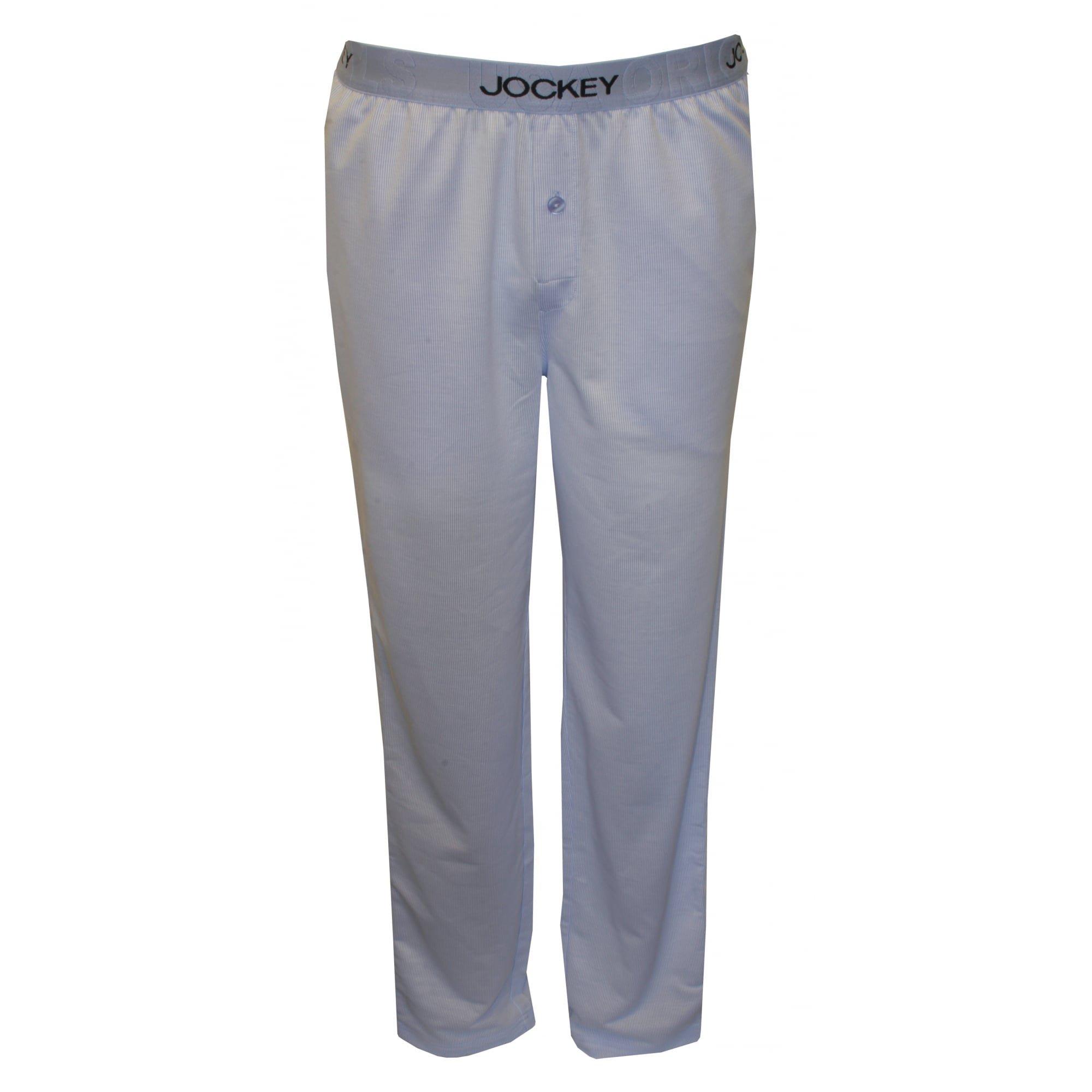 Jockey Knitted Jacquard Fine Stripes Men's Lounge Pants, Blue XX-Large Blue Fine Stripe