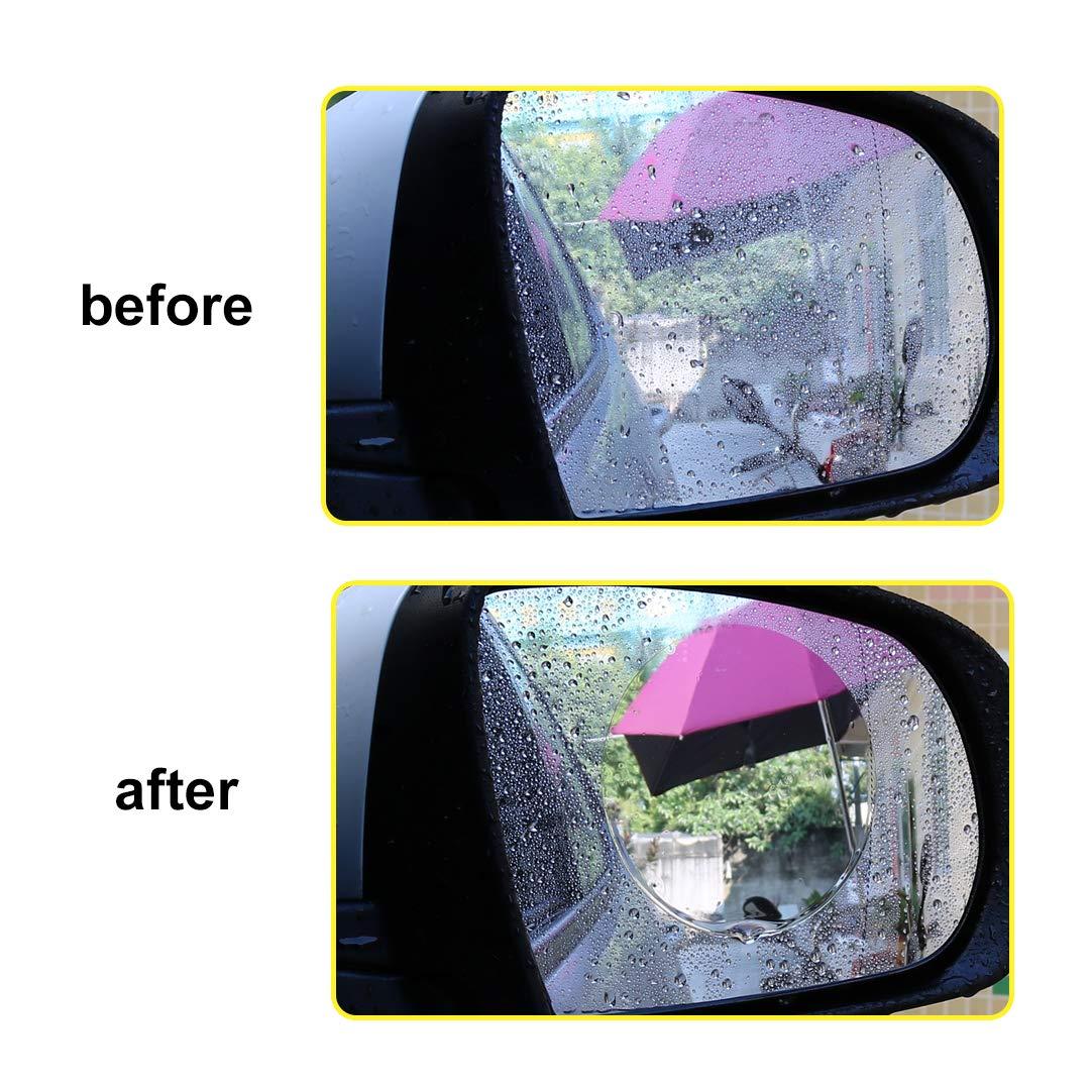 95 * 95mm Novasoo Car Rearview Mirror Rain and Anti-Fog Film Anti-Dust and Explosion-Proof Automotive Glass Decoration 2 PCS