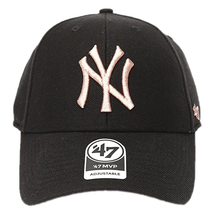 47 Brand Cappellino Mlb New York Yankees Mvp Ajustable Curved V Struct fit  Metallic nero  5a8ea53a5a09