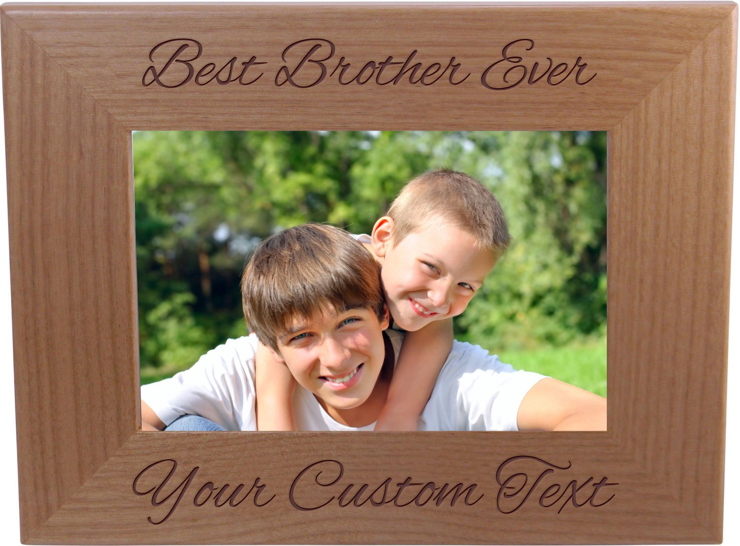Best Brother Ever Custom 4x6 Inch Wood Picture Frame - Add your custom text - Great Gift for Birthday, Christmas Gift for Brother