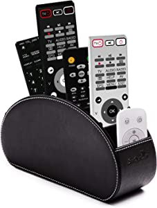 Remote Control Holder Organizer Box with 5 compartment PU Leather Multi-functional Office Organization And storage Caddy Store tv remote holders ,brush ,pencil,glasses an Media Player (Black)