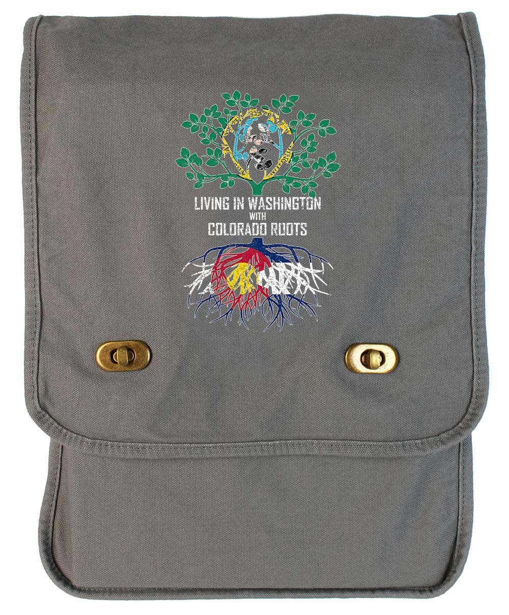 Tenacitee Living In Washington with Colorado Roots Grey Brushed Canvas Messenger Bag