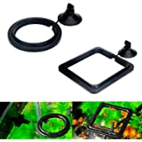 Maxmoral 2pcs Black Fish Feeding Ring Aquarium Fish Tank Mariculture Fishes Floating Food Feeder Circle with Suction Cup…