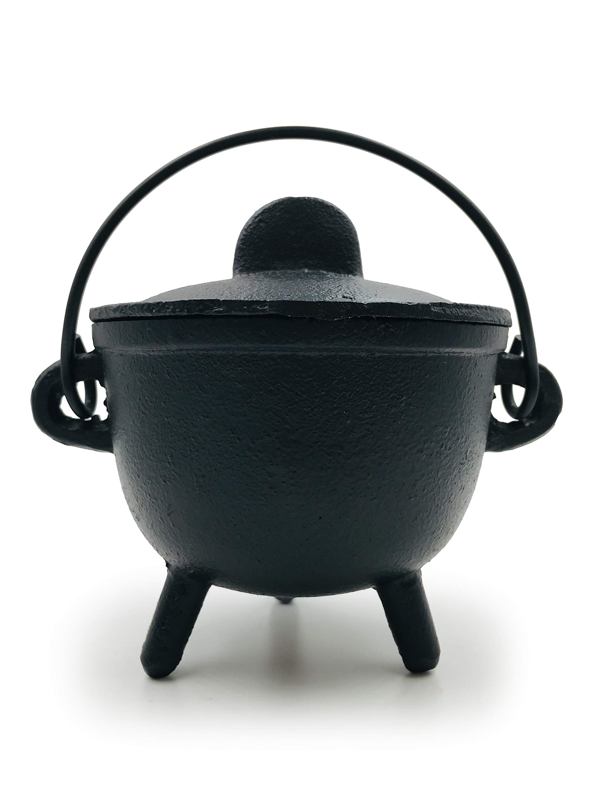 Alternative Imagination Cast Iron Cauldron with Lid and Handles. Perfect for Incense, Rituals, Home Decor, and More - 4.25 Inches Diameter by Alternative Imagination