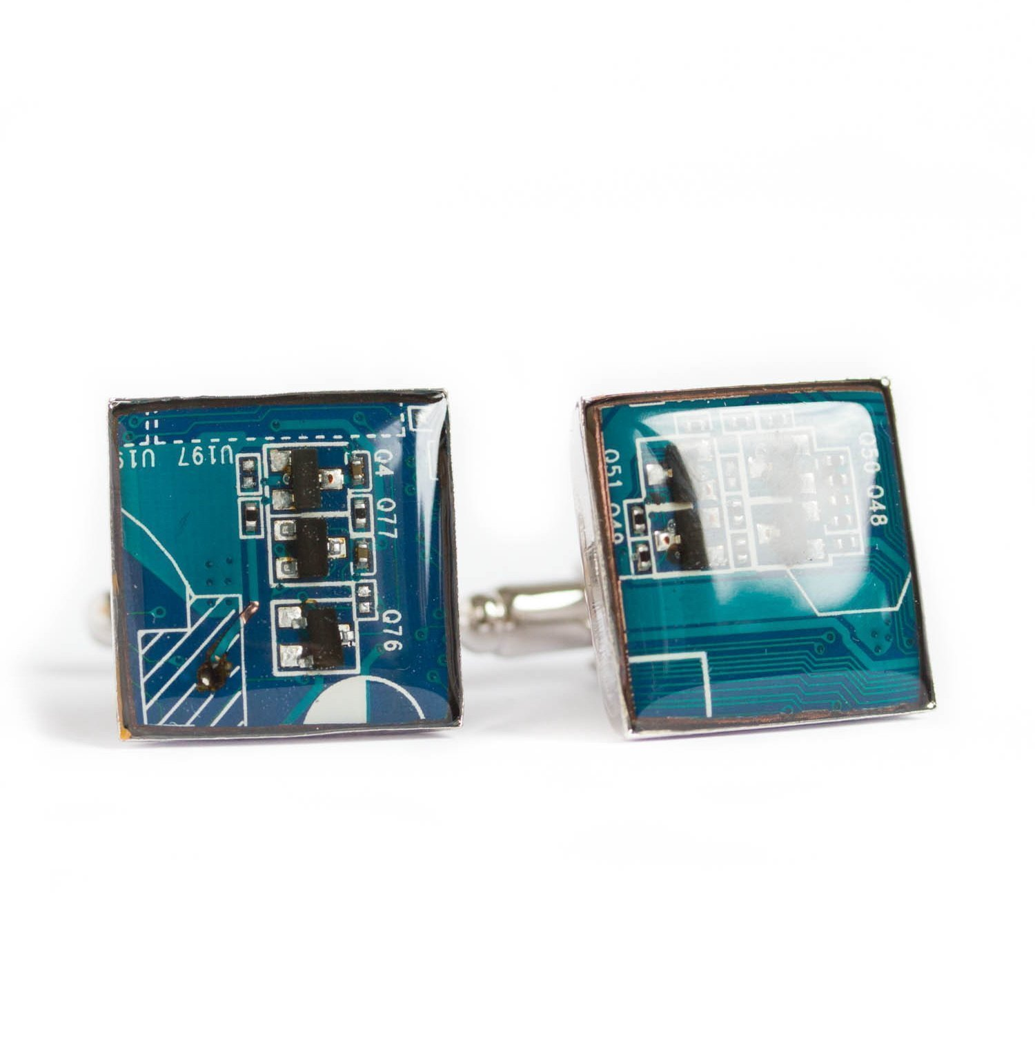 Blue Circuit Board Cufflinks, recycled gift for computer geek