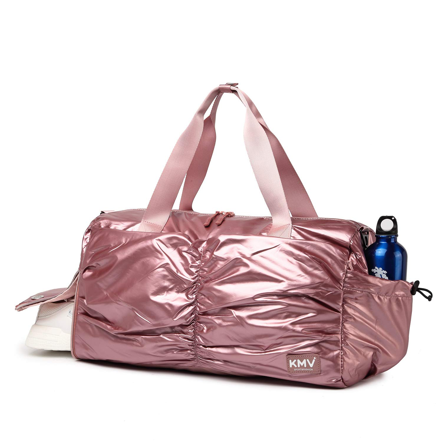 Metallic Women Stylish Gym Duffle Bag School,Ballet Dance Bag for Girls with Shoe Compartment and Wet Pocket Rose Gold