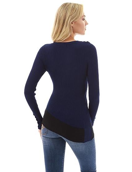 PattyBoutik Damen Asymmetrischer Saum Gerippter Pullover  Amazon.de   Bekleidung 6541cbc1ef