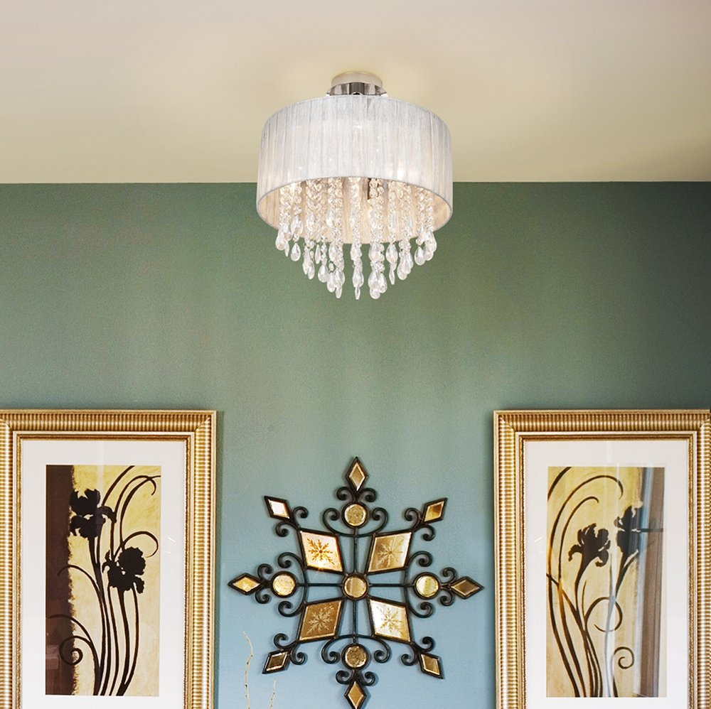 Possini Euro Jolie 15  Wide Silver and Crystal Ceiling Light - Semi Flush Mount Ceiling Light Fixtures - Amazon.com : possini euro lighting - azcodes.com