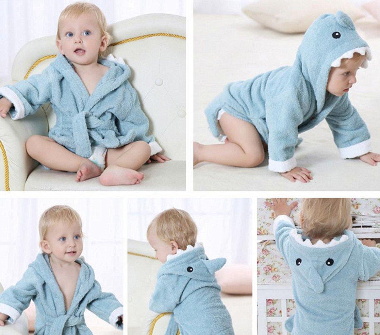 Baby Badet/ücher Mit Kapuze Jungen M/ädchen Nachtw/äsche Kleinkind Bademantel Mit Tier Entwurf 0-24 Monate,Blauer Hai