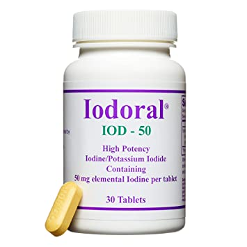 Optimox - Iodoral 50mg, High Potency Iodine/Potassium Iodide Thyroid  Support Supplement, 30 Tablets