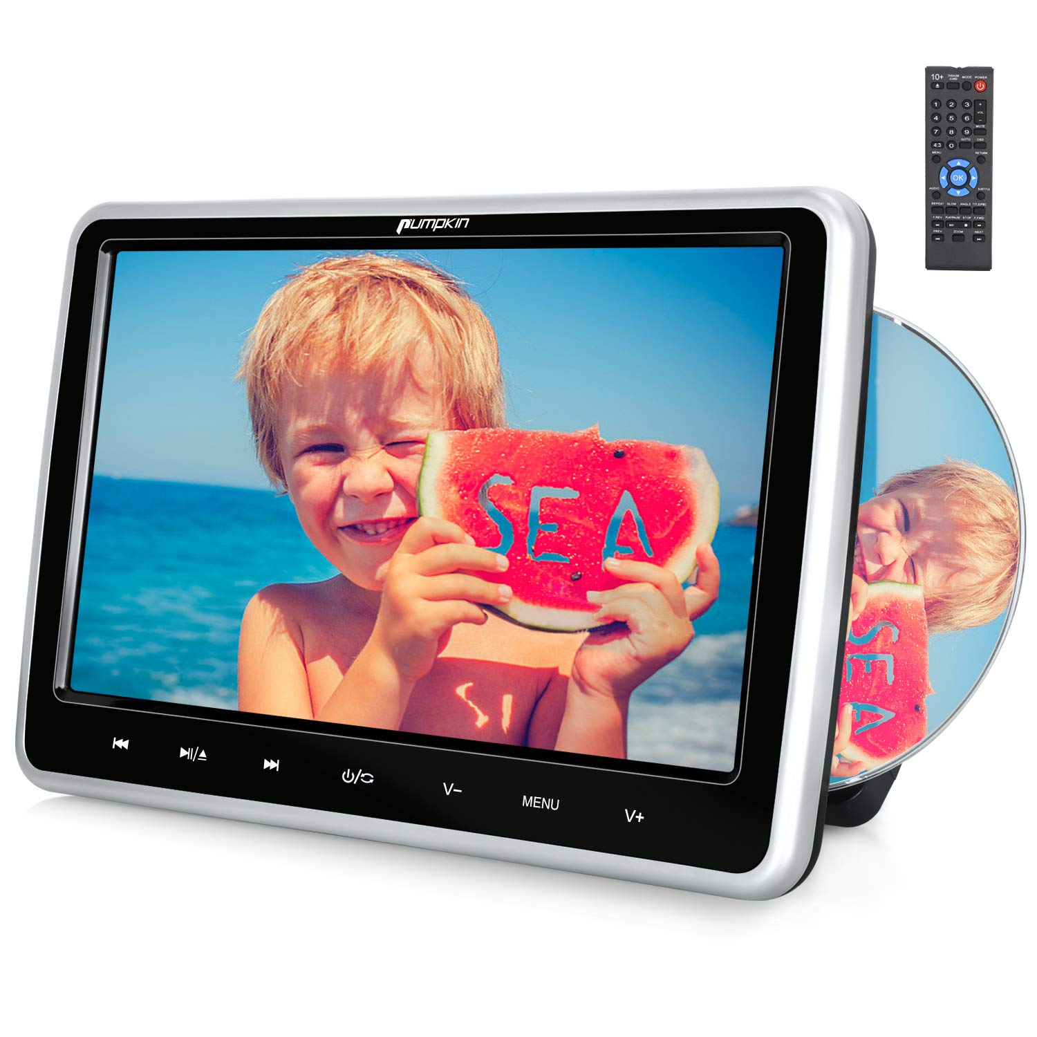 PUMPKIN 10.1 Inch Headrest Car DVD Player with Suction Drive, Support Region Free, Sync Screen, AUX, AV in Out, Last Memory, USB SD by PUMPKIN