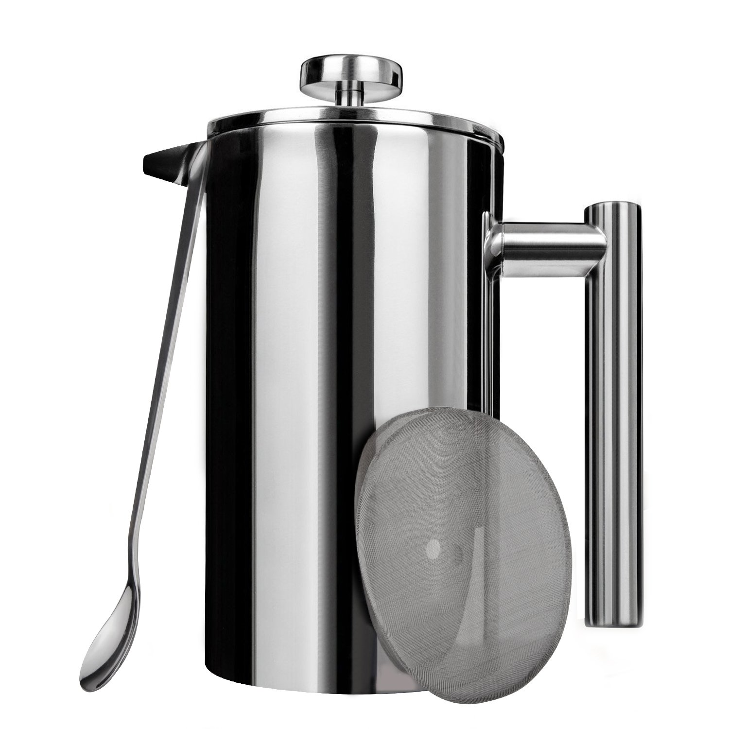 AMOVEE French Press Coffee Maker Tea Maker, 304 Stainless Steel Double Insulation, with Mixing Spoon and Bonus Screen (1 Liter, 34 oz)