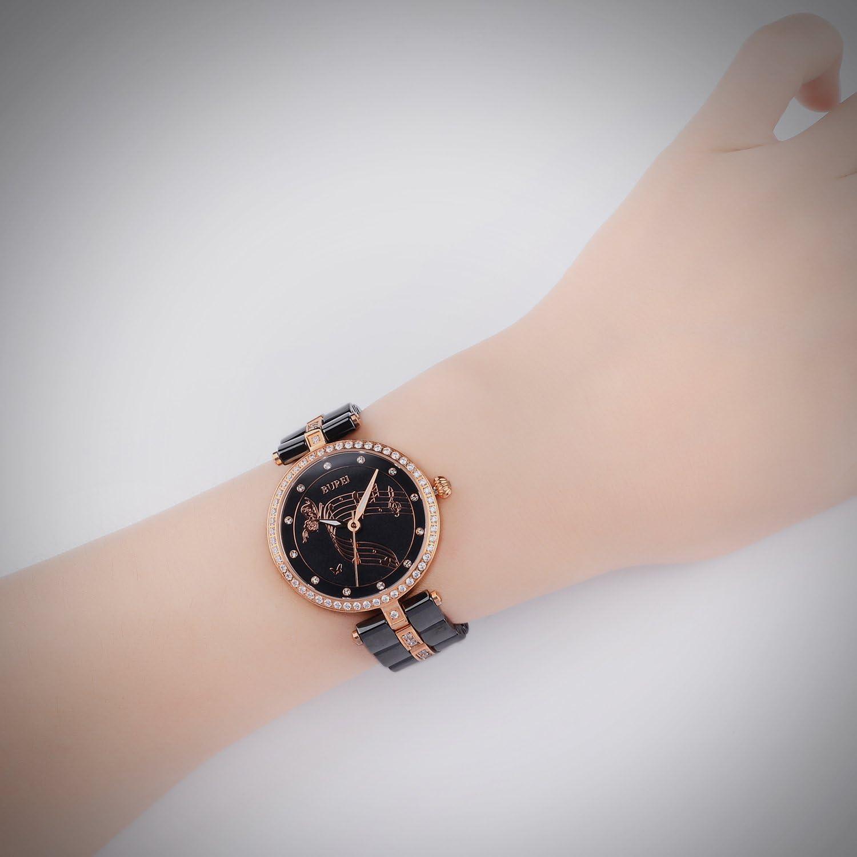 BUREI Elegante orologio meccanico automatico a scheletro femminile con quadrante in vetro zaffiro e cinturino in morbida pelle Oro Rosa E Nero.