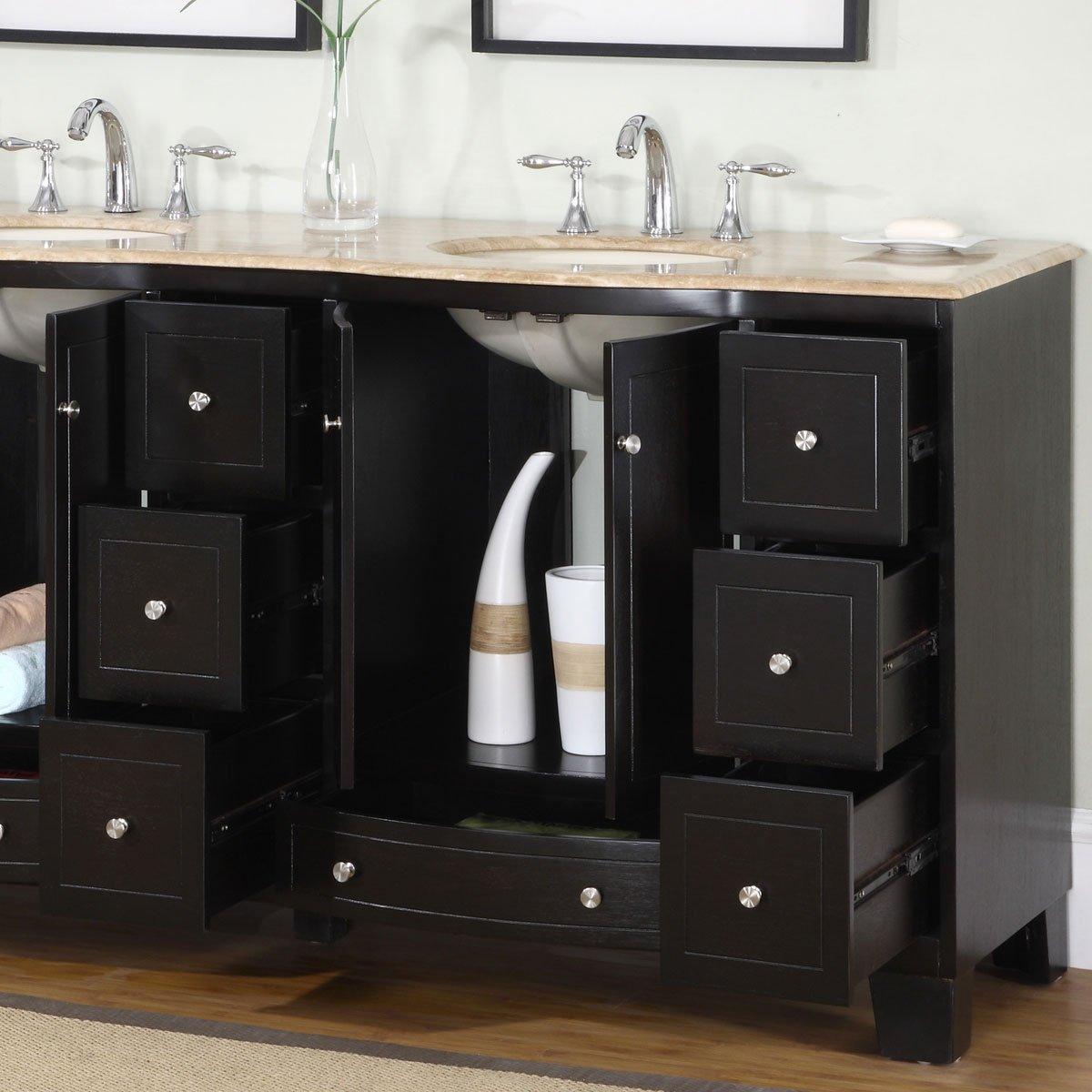 72 perfecta pa 5125 bathroom vanity double sink cabinet espresso - Amazon Com Silkroad Exclusive Countertop Travertine Stone Double Sink Bathroom Vanity With Dual Cabinet 72 Inch Home Kitchen