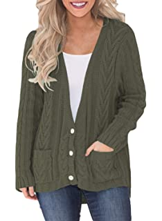 3002152b41 Women s Knit Cardigan Long Sleeve Sweater Buttons Casual Outwear Coat with  Pockets