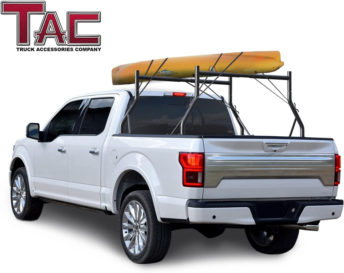 TAC Adjustable Truck Bed Ladder Rack 2 Bars Pick up Rack 500 LBS Capacity Utility Contractor Universal Compatible with Kayak Canoe Boat Ladder Pipes Lumber Cargo Carrier Accessories