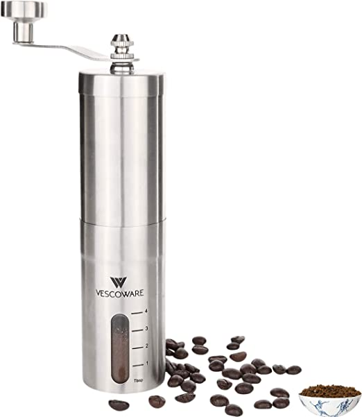 Manual Coffee Grinder with Conical Burr – Hand Burr Coffee Grinder with Adjustable Setting – Vescoware Stainless Steel Portable Mill for Espresso, ...