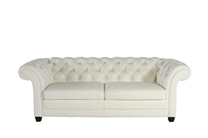 White Top Grain Leather Chesterfield Sofa By Lazzaro Leather 1042