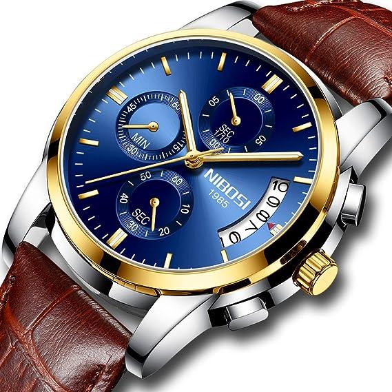 Relojes Hombre Relojes de Pulsera de Lujo Marea Cronometro Impermeable Fecha Calendario Analogicos Cuarzo Relojes de