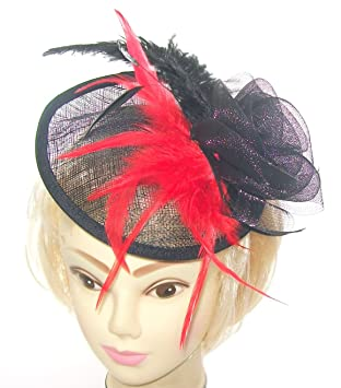 Large Black and Red Hatinator Hat on a slanted Headband for Mother of the  Bride 3fdf4fce6e0