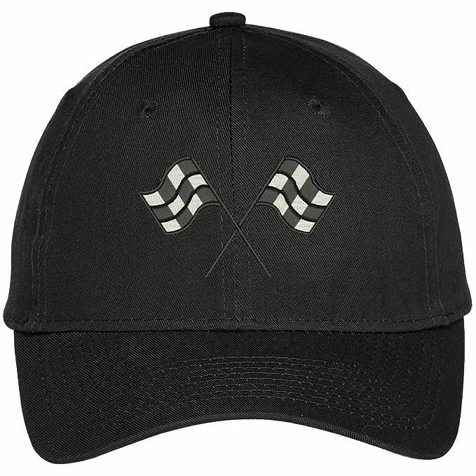 ac362c77e54 Trendy Apparel Shop Racing Flag Embroidered Dad Hats Baseball Cap - Black