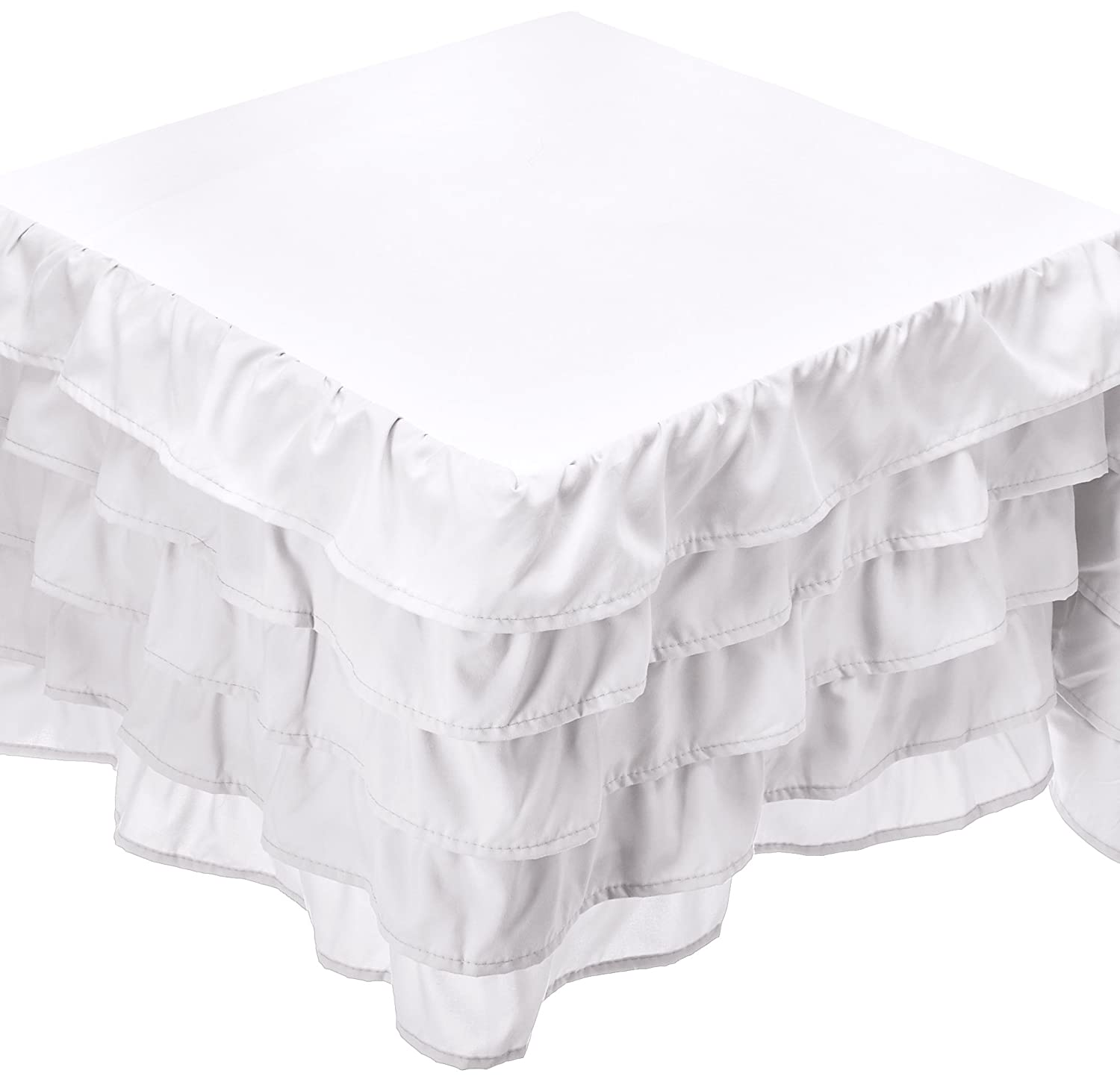(King, White) Elegant Comfort Luxurious Premium Quality 1500 Thread Count Wrinkle and Fade Resistant Egyptian Quality Microfiber Multi-Ruffle Bed Skirt 38cm Drop, King, White B071Z6VXSZ キング|ホワイト ホワイト キング