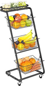 Wire Market Basket Stand with Wheels, GSlife 4 Tier Fruit Basket Stand Floor Standing Storage Organizer for Fruit Vegetable Produce Kitchen Pantry Bathroom Decor, Black